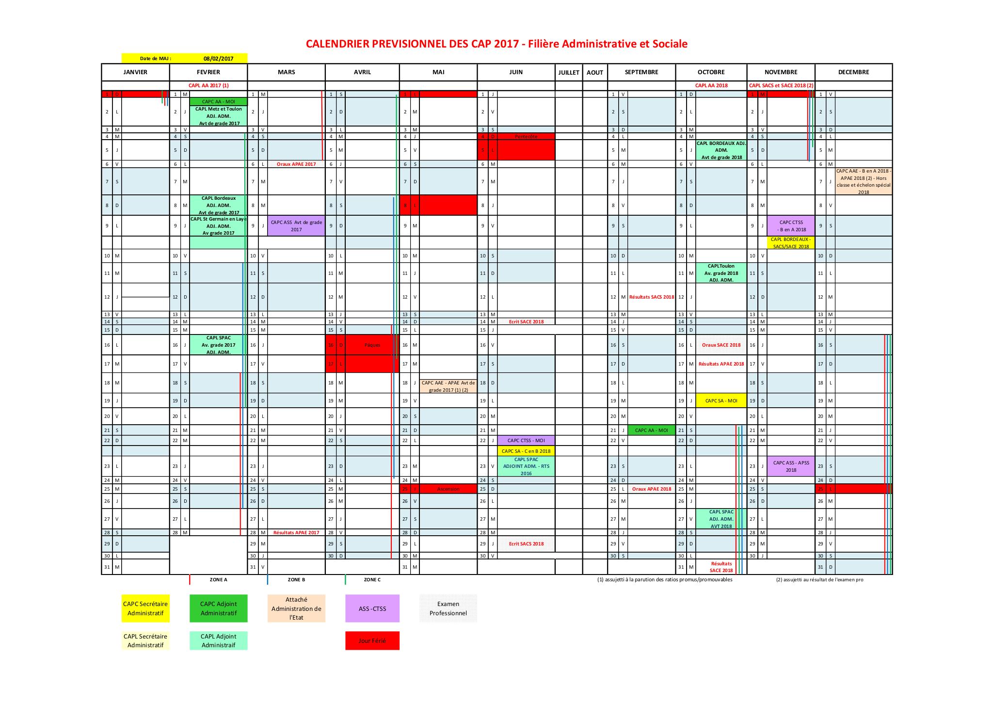 8b3abec5c3f Actualites - Calendrier prévisionnel des CAPC et CAPL en 2017 pour ...