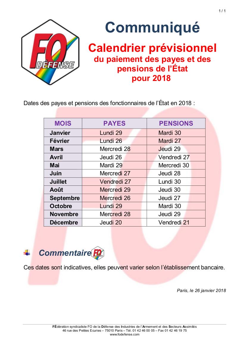 d88cd23329b Actualites - Communiqué Calendrier prévisionnel du paiement des ...